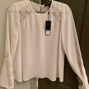 BCBG White Lace Long-sleeve Dress Top